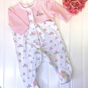 LITTLE ME BUNNY PRINT COTTON KNIT FOOTED ONESIE 3